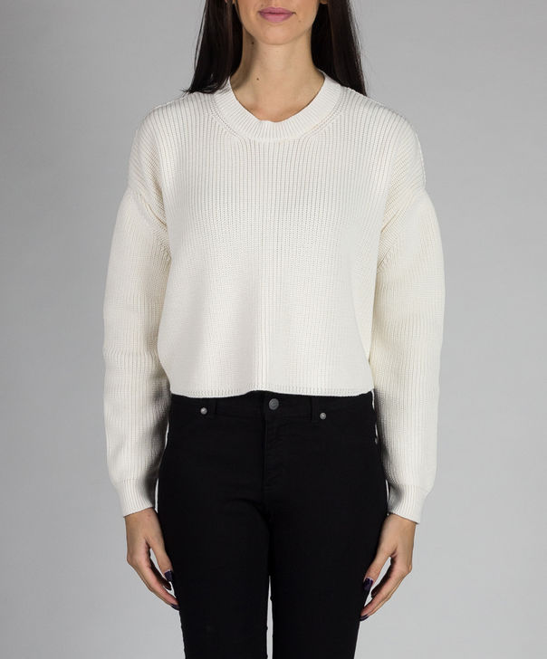 MAGLIONE CROPPED CON ZIP, PANNA, large