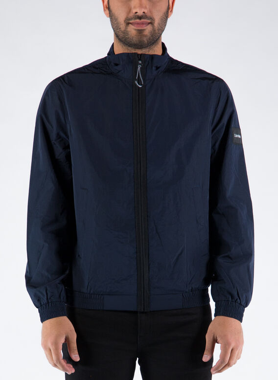 GIACCA CON ZIP INTEGRALE IN NYLON INCRESPATO, DW4/CALVINNAVY, medium