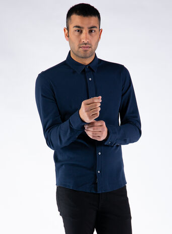 CAMICIA SLIM FIT PIQUE KNITTED, DW4/CALVINNAVY, small