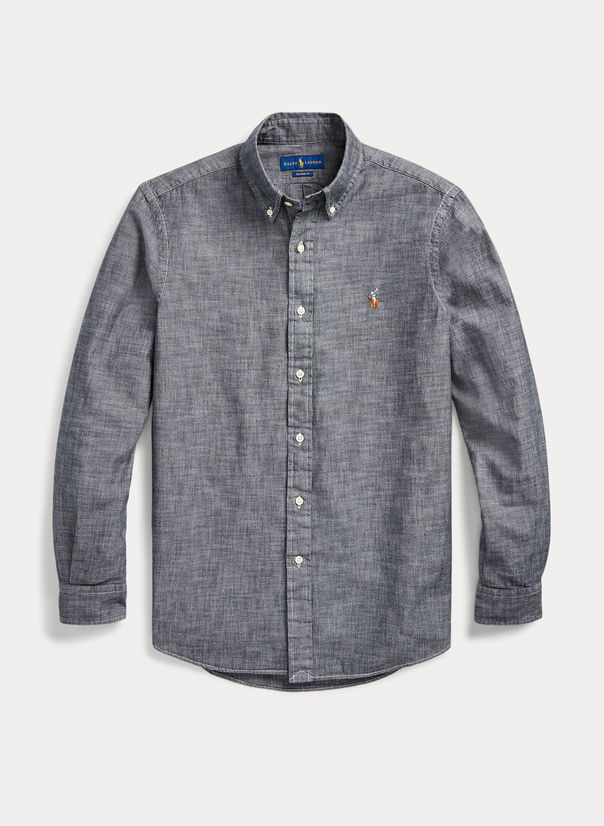 CAMICIA IN CHAMBRAY, LIGHTGREY, large