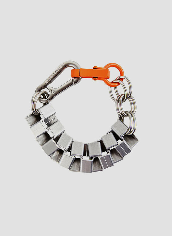 BRACCIALE CUBIC CHAIN, SILVER/ORANGE, medium