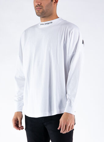 T-SHIRT IN COTONE CON STAMPA LOGO, 0110WHITEBLACK, small