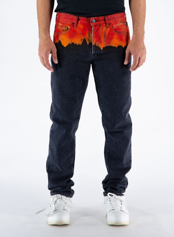 JEANS BLEACH FLAMES SLIM, 1025BLACKRED, medium