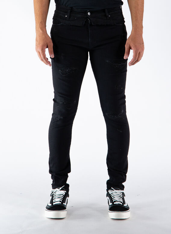 JEANS REPAIRED DENIM, BLACK, medium