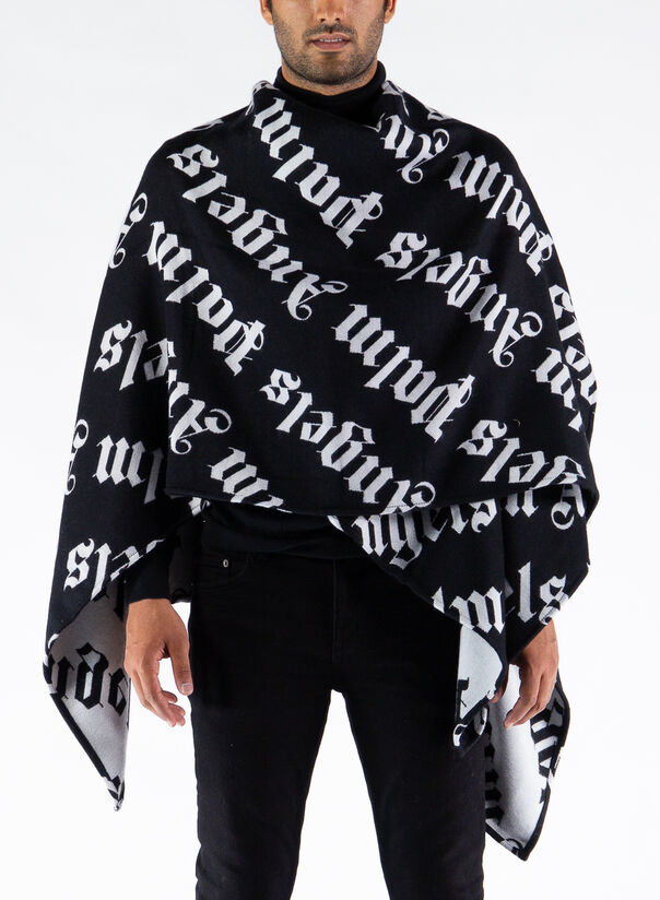 MANTELLA LOGO KNITTED CAPE, BLACK/WHITE, large