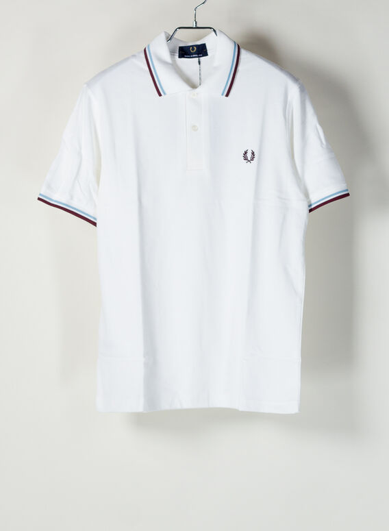 POLO TWIN TIPPED, 120WHITE/ICE/MAROON, medium