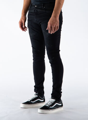 JEANS REPAIRED DENIM, BLACK, small