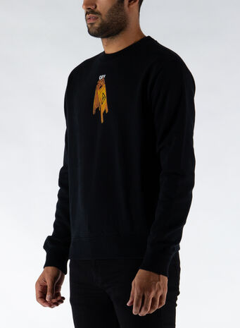 FELPA PASCAL SKELETON SLIM CREWNECK, 1010BLACK/BLACK, small