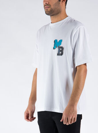 T-SHIRT MB COLLEGE OVER, 0140WHITELIGHTBLUE, small