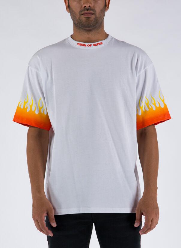 T-SHIRT ORANGE FLAMES, WHITE, large