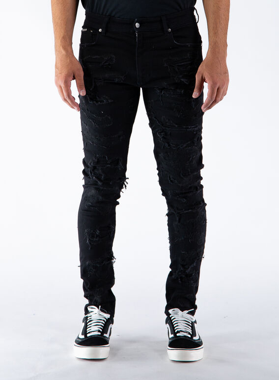 JEANS SHREDDED DENIM, BLACK, medium