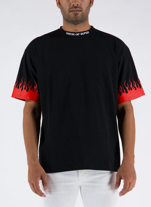 T-SHIRT RED FLAMES, BLACK, large