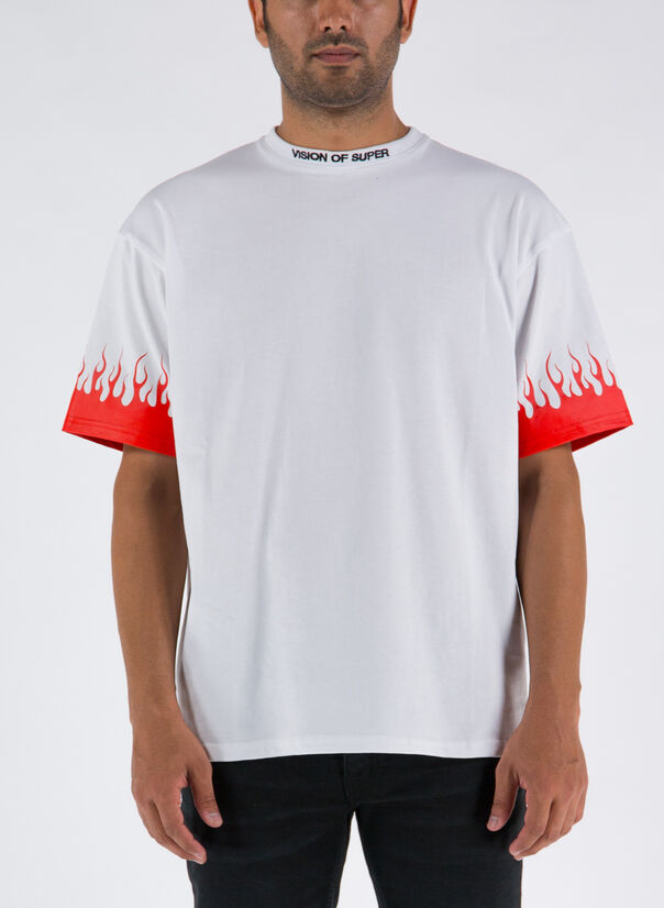 T-SHIRT FLAMES, WHITE, large