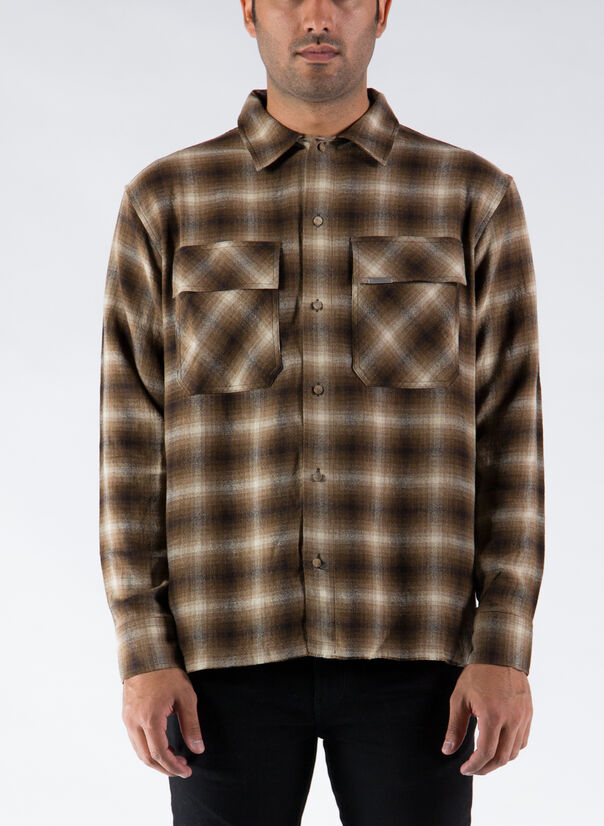 CAMICIA FLANNEL, BROWN, large