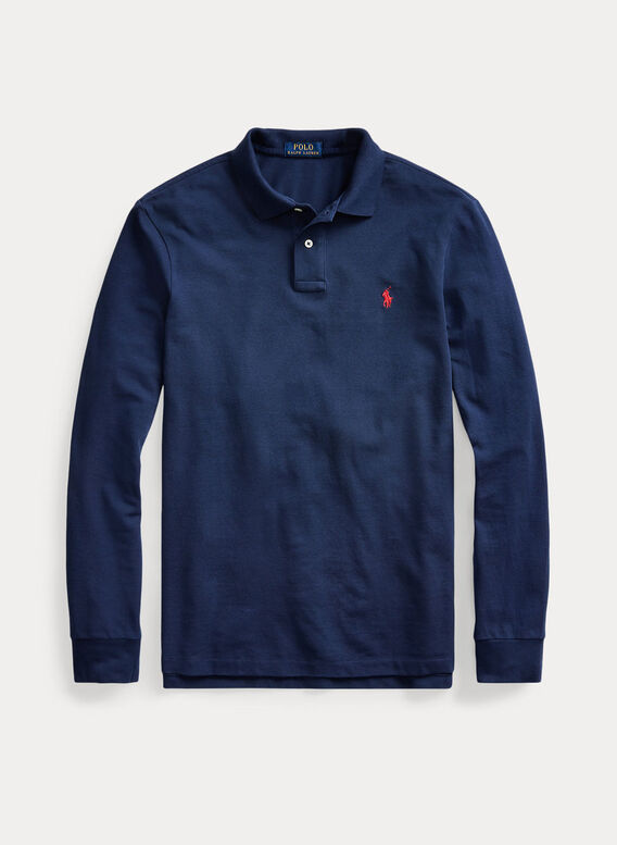 POLO IN PIQUÉ A MANICHE LUNGHE, NEWPORTNAVYC3870, medium