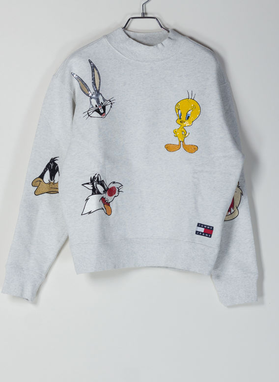 FELPA TJW LOONEY TUNES CREW, PALEGREYHTR, medium