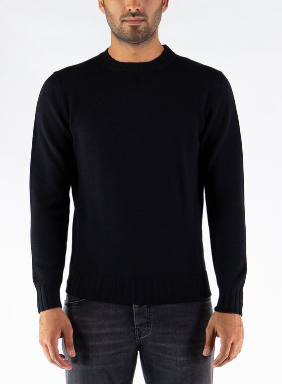 MAGLIONE GIROCOLLO, 002BLACK, medium