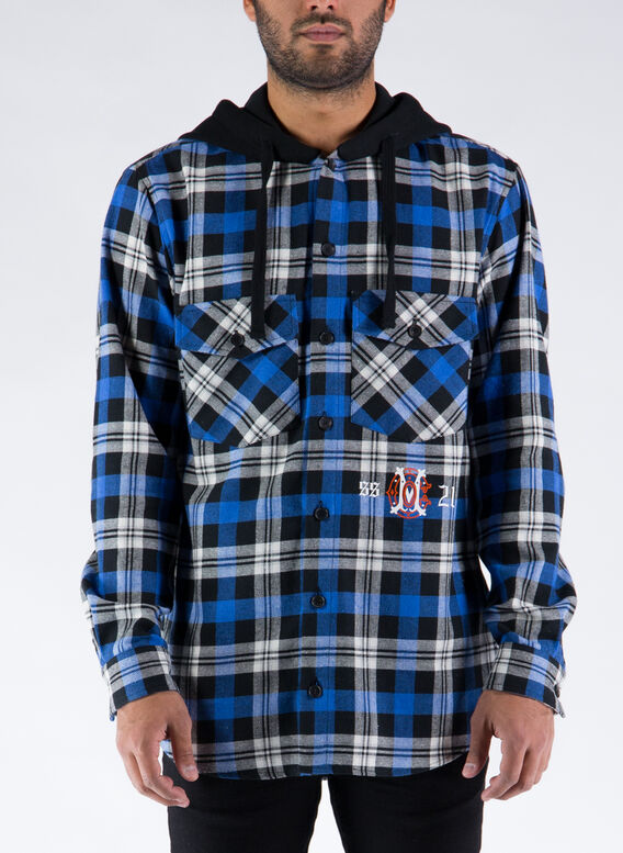 CAMICIA MONOGRAM CHECK HOODIE SHIRT, 1045BLACKBLUE, medium