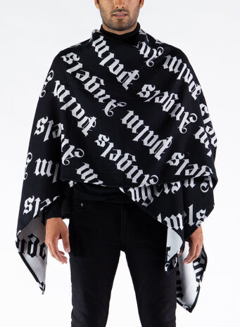 MANTELLA LOGO KNITTED CAPE, BLACK/WHITE, small