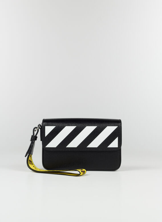DIAG SAFFIANO CLUTCH BAG, 1001BLACKWHITE, medium