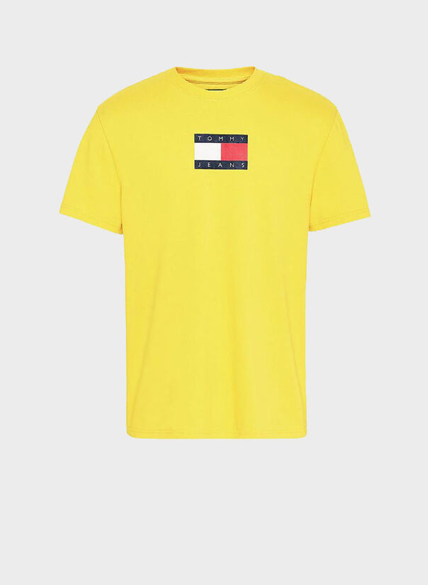 T-SHIRT IN COTONE BIOLOGICO CON DISTINTIVO TOMMY, ZGQFRUITYELLOW, large