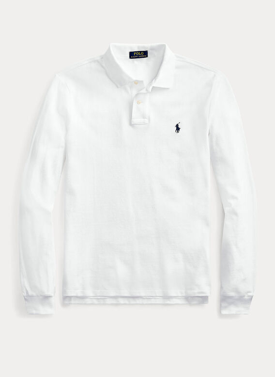 POLO PIQUÉ A MANICHE LUNGHE, WHITE, medium