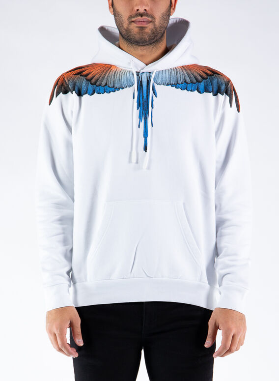 FELPA ORANGE WINGS HOODIE, 0120WHITEORANGE, medium