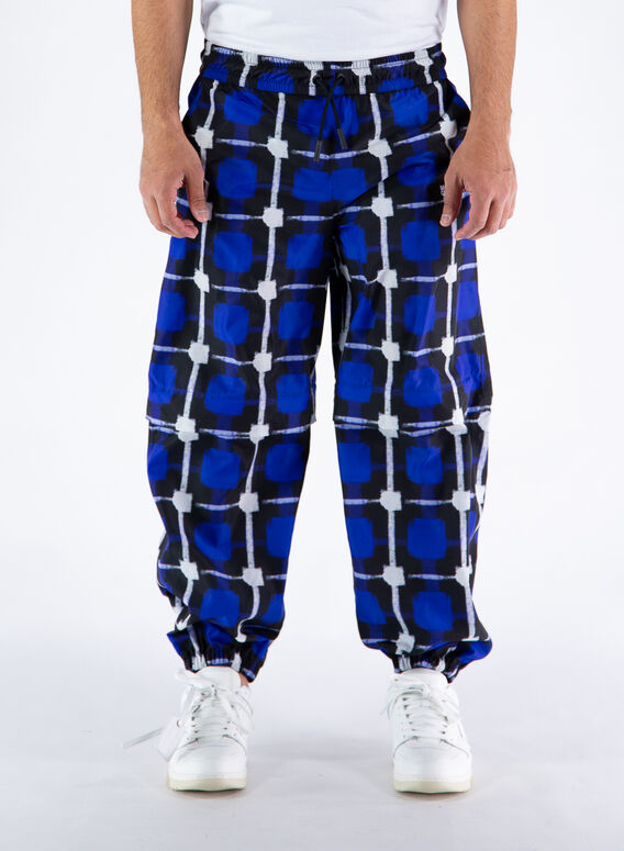 PANTALONE LOGO CHECK NYLON JOGGING, 4501BLUEWHITE, medium
