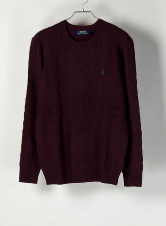 MAGLIONE IN LANA A TRECCE, AGEDWINEHEATHER, small