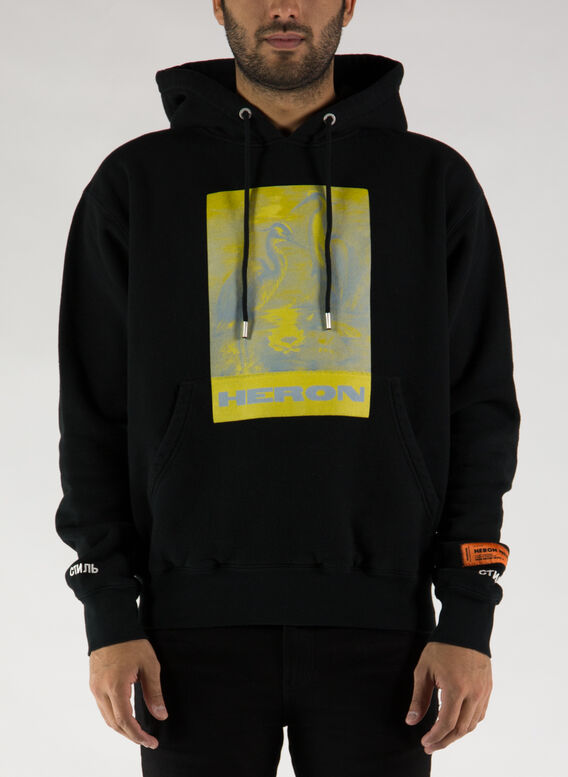 FELPA HOODIE HERONS LITHO, 1018BLACKYELLOW, medium