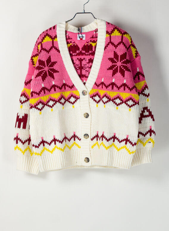 CARDIGAN IN MAGLIA CON BOTTONI, YAPSNOWWHITEMULTI, medium