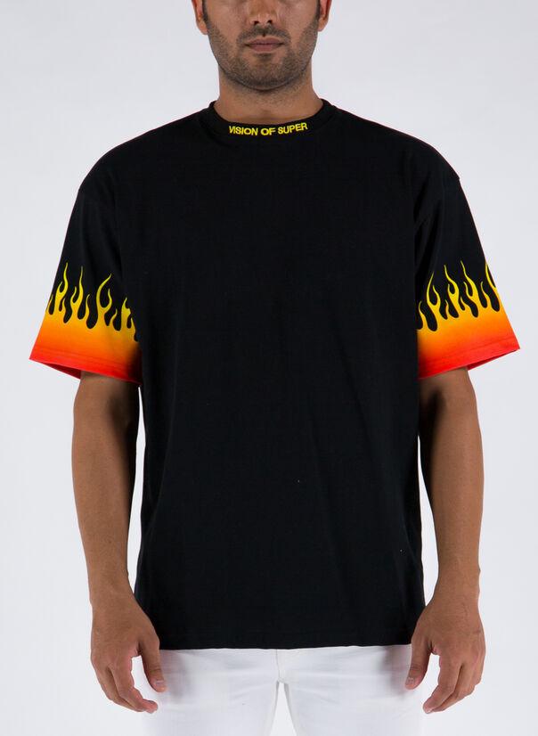 T-SHIRT FLAMES, BLACK, large
